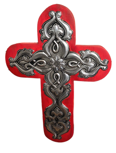 Cross Wood Repujado Embossed Flower Center Local Artist Hand-Crafted Local El Paso Artist Marilu Fuentes Red