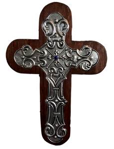 "Cross Wood Repujado Embossed Tin Blue Stone in Center Local Artist Hand-Crafted Local El Paso Artist Marilu Fuentes Brown 11""x 8"""
