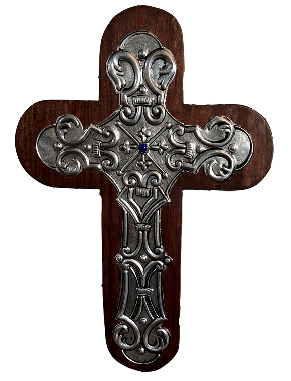Cross Wood Repujado Embossed Tin Blue Stone in Center Local Artist Hand-Crafted Local El Paso Artist Marilu Fuentes Brown 11