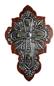 "Cross Wood Repujado Tin Embossed Large Stone Accents Curved Edging Design Hand-Crafted Local El Paso Artist Marilu Fuentes 12"" x 8"""