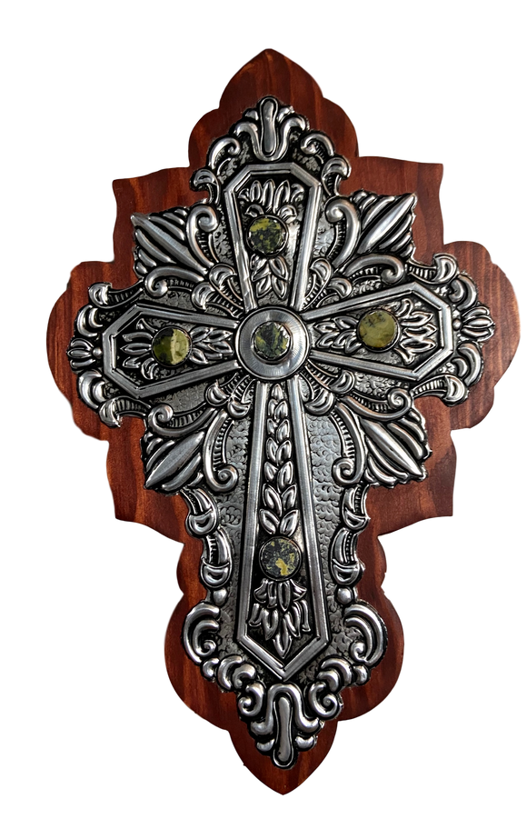 Cross Wood Repujado Tin Embossed Large Stone Accents Curved Edging Design Hand-Crafted Local El Paso Artist Marilu Fuentes 12