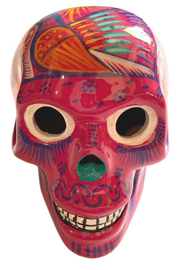 Day of the Dead Skull Ceramic Calavera Hand-Painted in Mexico Large Pink Orange Bird on Top Of Head