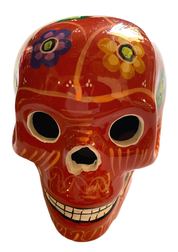 Day of the Dead Skull Ceramic Hand-Painted in Mexico Large Orange with Floral Design