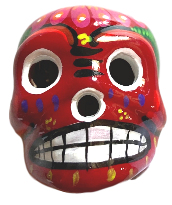 Day of the Dead Skull Ceramic Magnet Red Small Made in Mexico