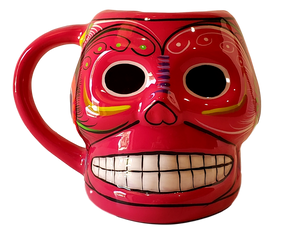 Day of the Dead Coffee Mug Ceramic Smiling Skull Design Hand-Crafted Skilled Mexico Artist 5h x 6w inches w/Handle Hand-Wash Color Pink