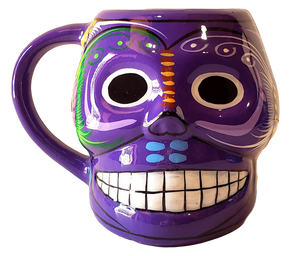 Day of the Dead Coffee Mug Ceramic Smiling Skull Design Hand-Crafted Skilled Mexico Artist 5h x 6w inches w/Handle Hand-Wash Color Purple