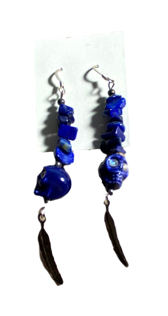 Day of the Dead Earrings Jewelry Dangle Skull Blue Stone Feathers