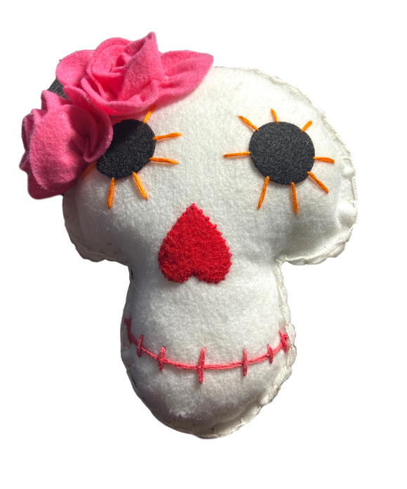 Day of the Dead Pillow Skull Felt Large Two Pink Flowers Orange Stitched Eyes Hcrafted El Paso Artist