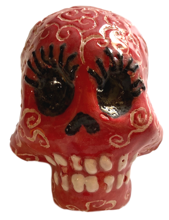 Day of the Dead Skull Ceramic Glazed Scrolled Hand-Crafted Local El Paso Artist Stephanie Romero