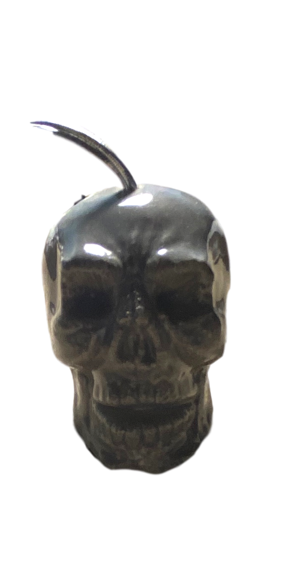 Day of the Dead Ornament Skull Ceramic Small Grey Glazed Hanging