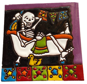 Day of the Dead Tile Large Hand-Crafted Skilled Mexico Artist
