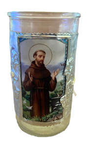 "Glass Candle Holder Removable Handcrafted Metal Embossed Art Sleeve Image of Saint Francis Local Artist Marilu 5""H"