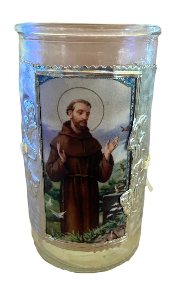Glass Candle Holder Removable Handcrafted Metal Embossed Art Sleeve Image of Saint Francis Local Artist Marilu 5