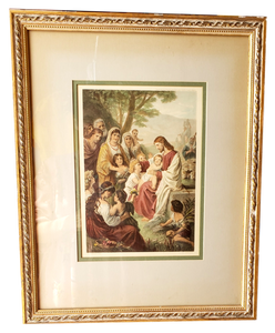 "Framed Art Jesus Blessing the Children Bernhard Plockhorst Professionally Framed Vintage 19"" x 15"""