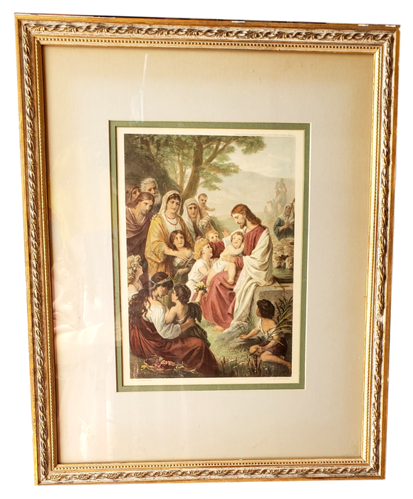 Framed Art Jesus Blessing the Children Bernhard Plockhorst Professionally Framed Vintage 19