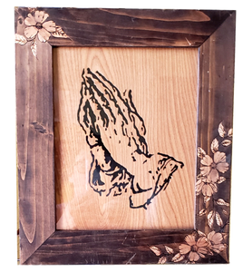 "Framed Art Praying Hands Wood Relief with Picture Frame Wood Burned Flowers Local Artist Knotty Wolf 13"" x 11.5"""