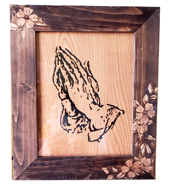 Framed Art Praying Hands Wood Relief with Picture Frame Wood Burned Flowers Local Artist Knotty Wolf 13