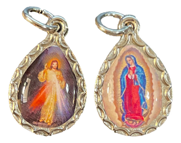 Charms Teardrop Shaped Double Sided Medal 2cm Silvertone Edging Saint Encased in Clear Resin with Jump Ring Made in Italy