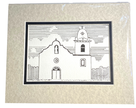 Home Goods Decor Ink 8X10 Ysleta Mission Design 2 Handpainted By El Paso Artist Ramon Valenzuela