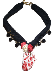 Jewelry Necklace Otomi Hand-Painted Anatomical Heart Clay White Red Floral Detailing Braided Fabric