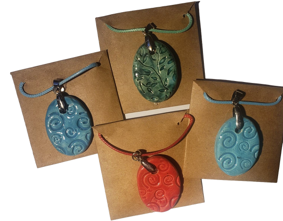 Jewelry Necklace Set Embossed Clay Pendant Hand-Crafted Oval Shaped Various Designs 2