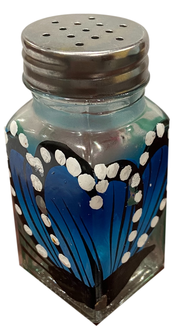 Kitchen Good Salt Shaker Glass Butterfly Design Hand Painted