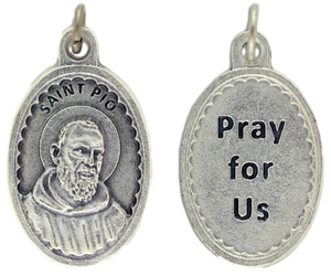 Medal Padre Pio Pray for Us Patronage Pain & Healing Scalloped Border 1 1/8""