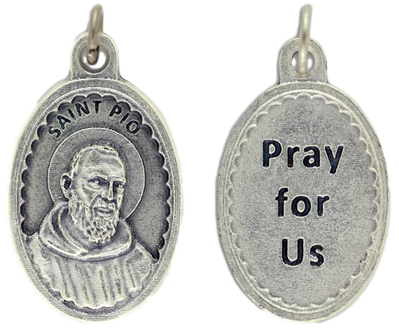 Medal Padre Pio Pray for Us Patronage Pain & Healing Scalloped Border 1 1/8