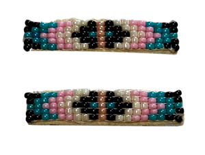 Native American Hair Barrette Small Handwoven Seed Bead Leather Hand-Crafted Skilled Pueblo Tribe Artist Set of 2 #1