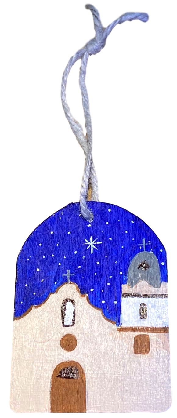 Ornament Dome 3 1/2in. X 2 1/2in. Wood Ysleta Mission With Blue Background Handpainted By El Paso Artist Ramon Valenzuela