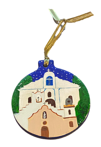 Ornament Round 3 Missions Hand Painted By El Paso Artist Ramon