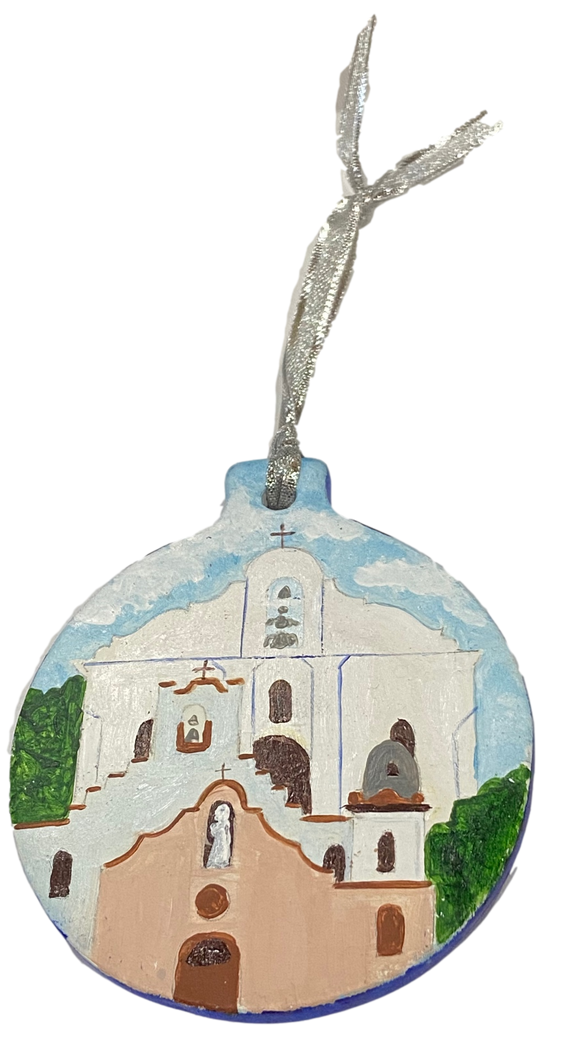 Ornament Round 3 Missions Hand Painted By El Paso Artist Ramon Valenzuela Design 4