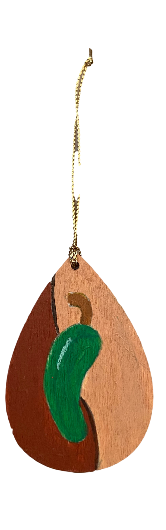 Ornament Wood Small Chile Brown Hand Painted By El Paso Artist Ramon