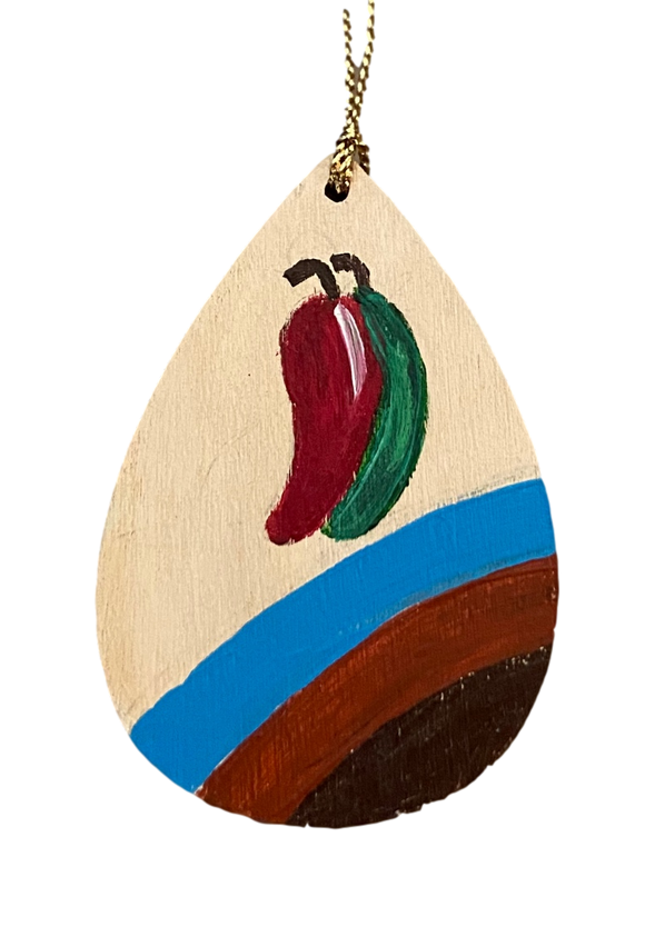 Ornament Wood Small Chile With Blue Hand Painted By El Paso Artist Ramon