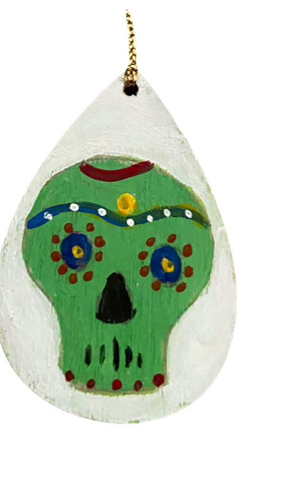 Ornament Wood Small Green Skull Hand Painted By El Paso Artist Ramon