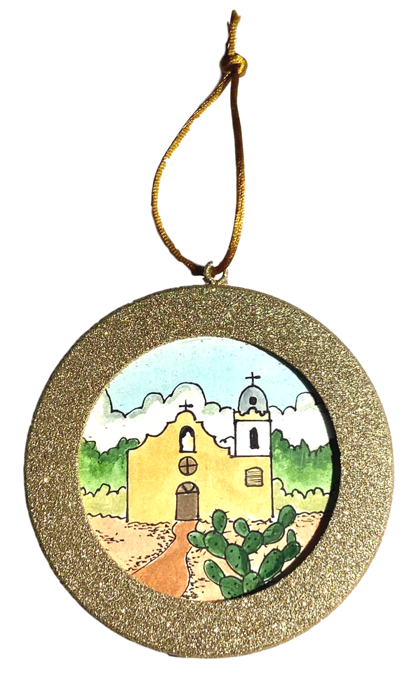 Ornaments Gold Round Frame Ysleta Mission In Water Color Handpainted By El Paso Artist Ramon Valenzuela Design 1