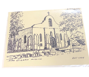 Note Card San Elizario Chapel With History Black and White By Maria Natividad