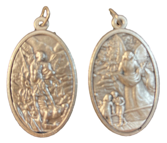 Pendant Oxidized Double Sided Metal Saint Michael and Guardian Angel with Jump Ring Made in Italy