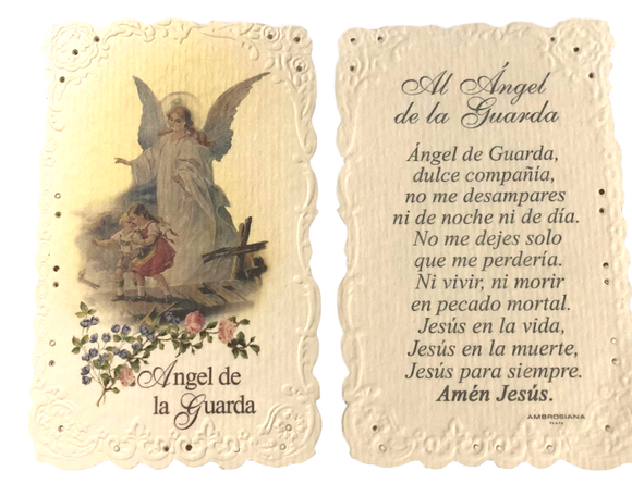 Prayer Card Al Angel De La Guarda Mini Pocket No Laminated NC