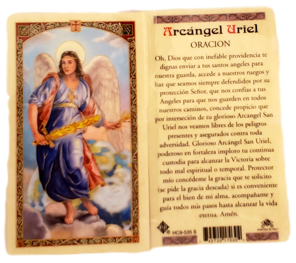 Prayer Card Arcangel Uriel Oracion SPANISH Laminated HC9-535S