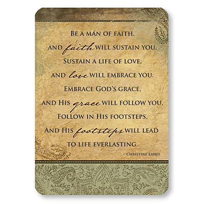 Prayer Card Be A Man Of Faith Mini Pocket Laminated NC