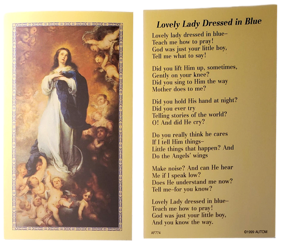 Prayer Card Lovely Lady Dressed In Blue No Laminated AF774