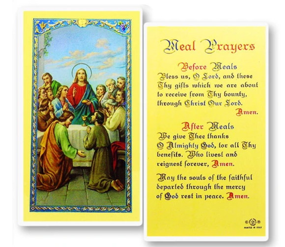 Prayer Card Meal Prayers Before Meals Laminated 800-007