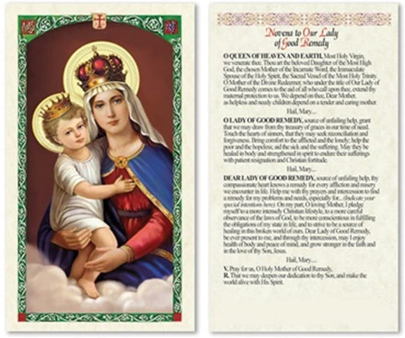 Prayer Card Novena Prayer To Our Lady Of Good Remedy No Laminated CC570
