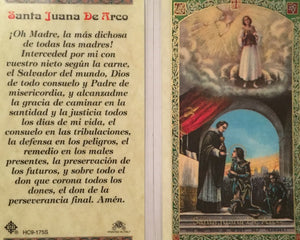 Prayer Card Santa Juana De Arco SPANISH Laminated HC9-175S