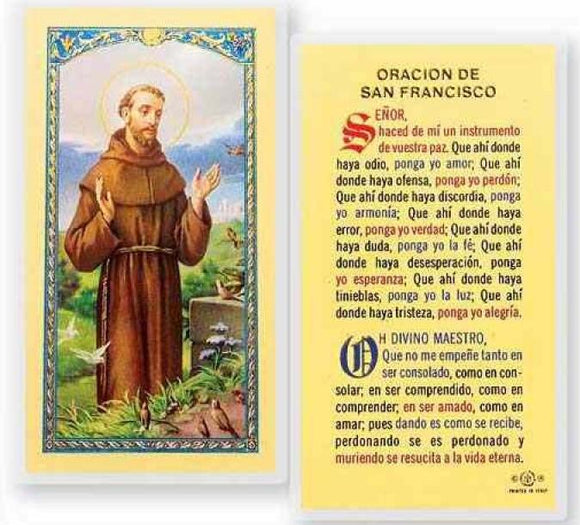 Prayer Card Oracion De San Francisco SPANISH Laminated 700-130
