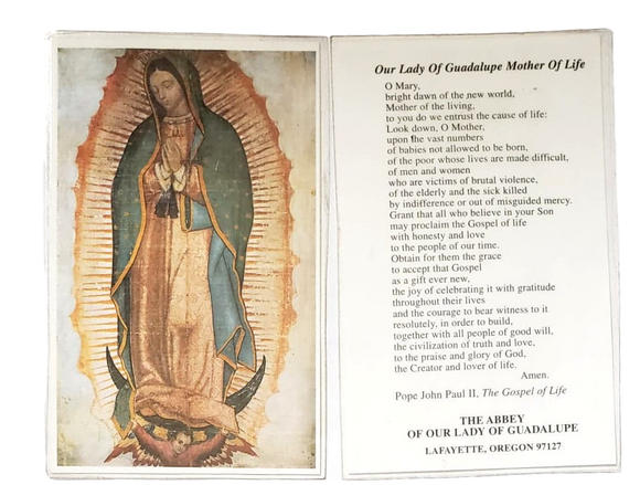 Prayer Card Our Lady of Guadalupe Mother of Life Laminated Lafayette Oregon 97127