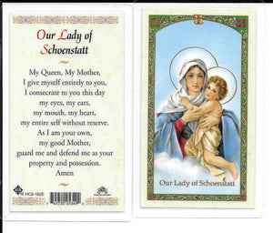 Prayer Card Our Lady Of Schoenstatt Laminated HC9-160E