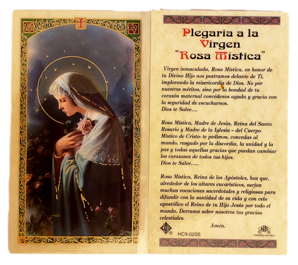 Prayer Card Plegaria A La Virgen Rosa Mistica SPANISH Laminated HC9-020S