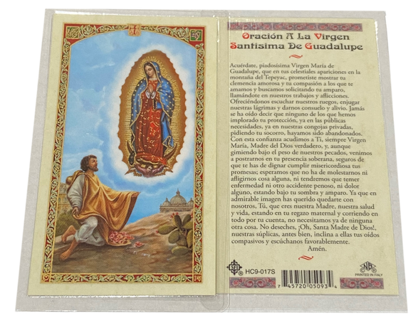 Prayer Card Prayer De Oracion A La Virgen Santisima De Guadalupe HC9-017S Laminated